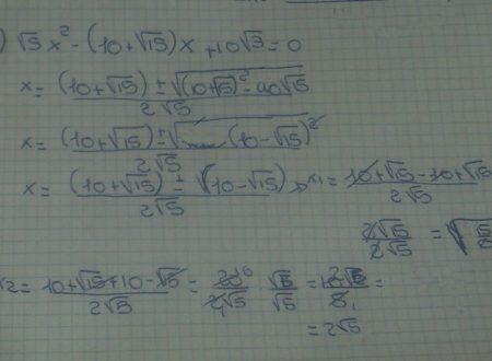 Equazioni di secondo grado a coefficienti irrazionali
