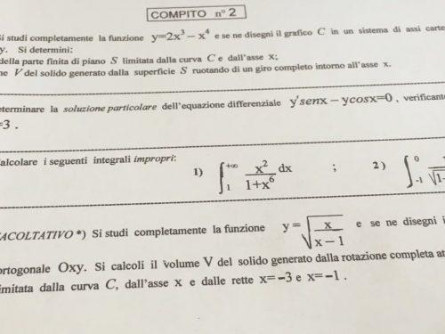 Compiti di matematica del quinto anno del liceo scientifico